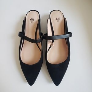 Black Pointed Toe Strappy Low Heel Mules